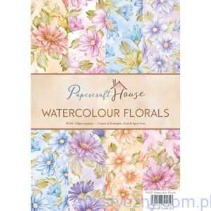Papiery Ozdobne WRS  - Watercolour Florals - 40 ark A4 - PH001