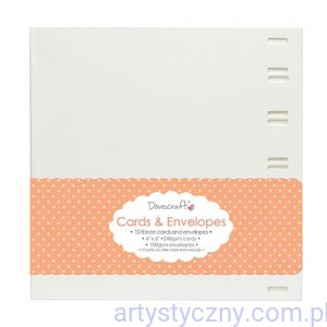 "Kartki i Koperty - Ribbon Window 6""x6"" Cards & Envelopes - Białe do Przeplatania"