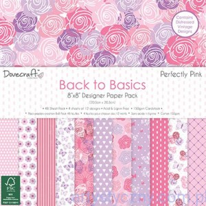 Papiery Ozdobne - Back to Basics Perfectly Pink - 20,3x20,3 cm ~ 48 ark