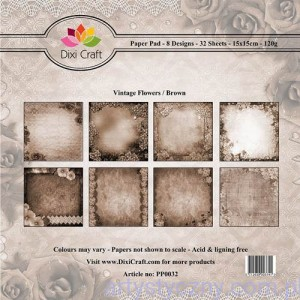 Papiery Dixi Craft - 15x15cm Vintage Flowers/Brown PP0032