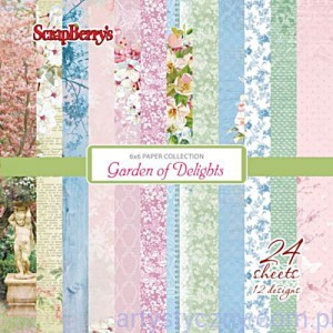 Papiery Ozdobne ScrapBerry's -  Garden of Delights , 24 ark 15х15сm