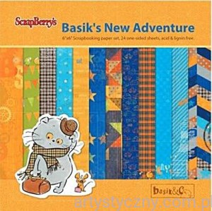 Papiery Ozdobne ScrapBerry's - Basik's New Adventure, 24 ark 15х15 сm