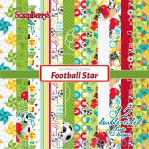 Papiery ScrapBerry's - Football Star, 12 ark 15х15 сm