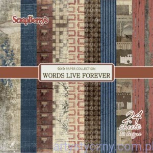 Papiery Ozdobne 12 ark Words Live Forever - 15х15 сm