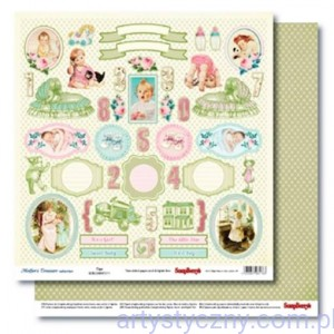 Papier ScrapBerry 2 ark Mother's Treasure - Tags 30x30 сm