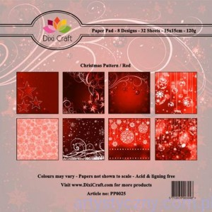 Papiery Dixi Craft - 15x15cm Christmas Pattern/Red PP0025