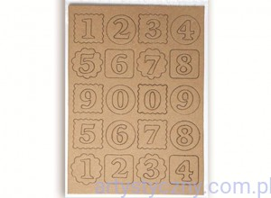 Chipboard die cuts Craft numbers, 2 ark - tekturowe cyfry