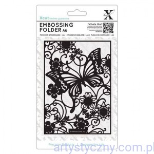 Xcut A6 Embossing Folder Butterfly Meadow - Motyl i Kwiaty