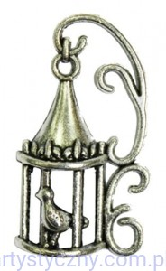 Metal Charms - Cage with bird - Klatka i ptaszek - 4 szt
