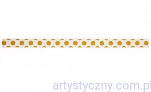 Tasiemka Satynowa - Christmas Ribbon - Gold Polka Dots - 3 metry