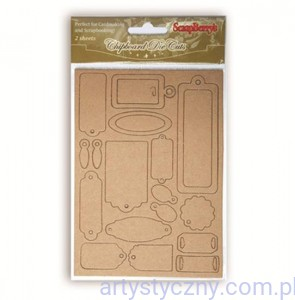 Chipboard die cuts Craft tags, 2 ark - tekturowe metki, tagi