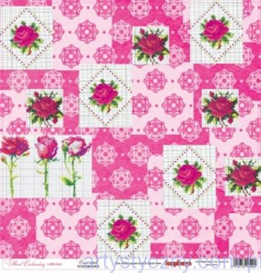 Papier do Scrapbookingu, Floral Embroidery, Cross-stitch, 30x30сm