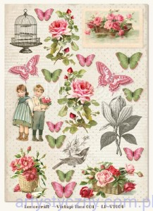 Papier do Scrapbookingu A4, 250gsm - Vintage Time, Heart Painted 004