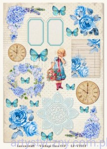 Papier do Scrapbookingu A4, 250gsm - Vintage Time,  Gossamer Blue 007