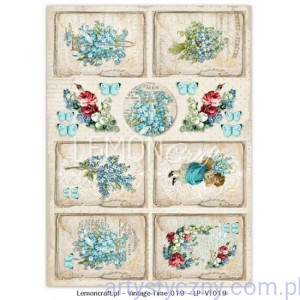 Papier do Scrapbookingu A4, 250gsm - Vintage Time, Forget Me Not 019