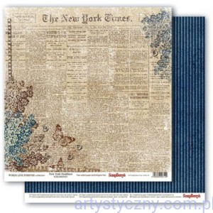 Papier do Scrapbookingu, Words Live Forever,  New York Headlines 30x30сm