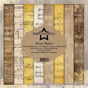 Papiery Dixi Craft 15x15cm Music Papers PF104