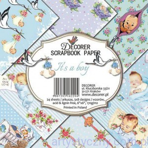Papiery do Scrapbookingu 15x15cm, It's a boy 24 ark