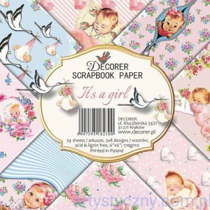 Papiery do Scrapbookingu 15x15cm, It's a girl 24 ark