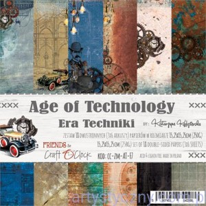 Papiery Ozdobne, Age of Technology 250g, 18 ark, 15x15cm