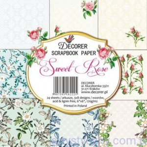 Papiery do Scrapbookingu 15x15cm, Sweet Rose 8 ark