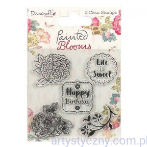 Stemple Akrylowe Dovecraft ~ Painted Blooms - Kwiaty 5szt