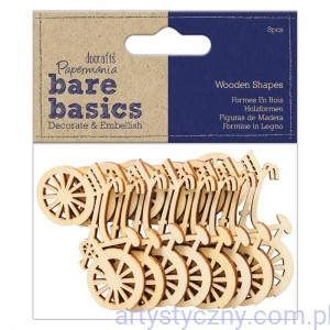 Papermania Drewniane Rowery 8 szt - Bare Basics Wooden Shapes Bicycle