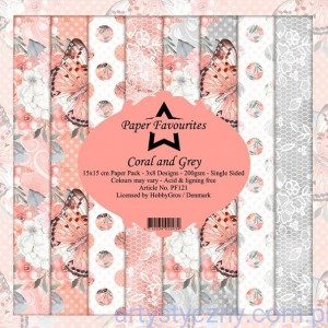 Papiery Dixi Craft 15x15cm Coral and Grey PF121