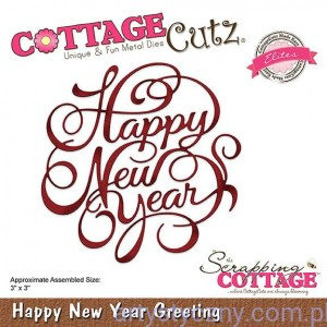 Wykrojnik CottageCutz Happy New Year Greeting - Napis Życzenia