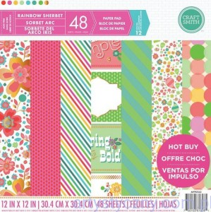 Papier Craft Smith Rainbow Sherbet 30x30cm, 48 ark