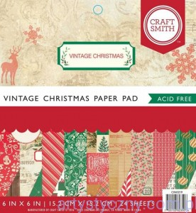 Papier Craft Smith Vintage Christmas 15x15cm, 24 ark