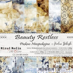 Papiery Ozdobne, Beauty Restless 250g, 18 ark, 15x15cm