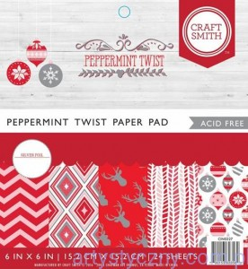 Papier Craft Smith Peppermint Twist 15x15cm, 12 ark