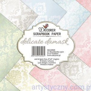 Papiery do Scrapbookingu 20x20cm, Delicate Damask, 18ark