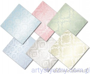 Papiery do Scrapbookingu 20x20cm, Delicate Damask, 6ark