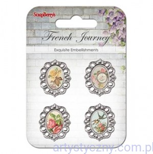 Metal frames French journey, Swallows and flowers -