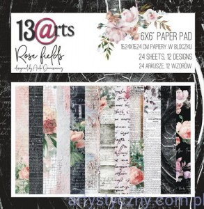 Papiery do Scrapbookingu - Rose Fields - 15x15cm - połówka