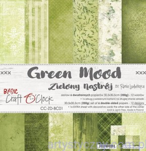 Papiery Craft o'Clock, Basic 01 - Green Mood, 250g, 6 ark, 30x30cm