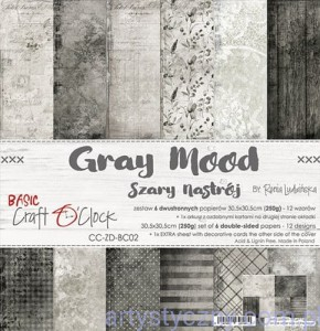 Papiery Craft o'Clock, Basic 02 - Gray Mood, 250g, 6 ark, 30x30cm