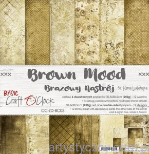 Papiery Craft o'Clock, Basic 03 - Brown Mood, 250g, 6 ark, 30x30cm