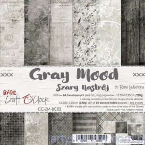 Papiery Craft o'Clock - Basic 02 Gray Mood - 15x15cm, 24 ark