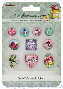 Naklejki Epoksydowe - Afternoon Tea Set of 10 crystal stickers
