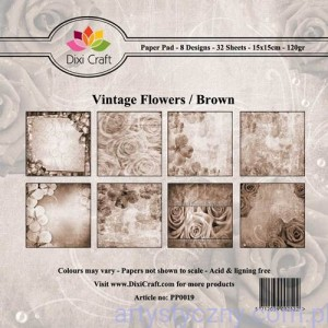 Papiery Dixi Craft - 15x15cm Vintage Flowers/Brown PP0019
