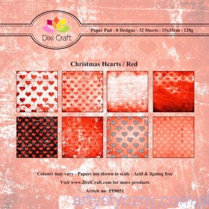 Papiery Dixi Craft - 15x15cm Christmas Hearts/Red PP0051