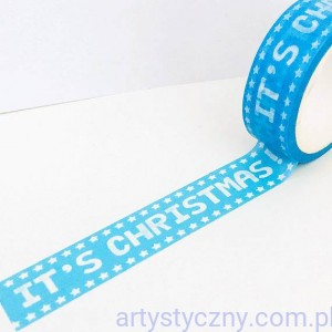 Washi Tape Modern - It's Christmas - Niebieska - Papierowa Tasiemka