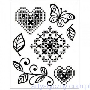 Stemple Akrylowe VIVA - Cross Stitch Flower, Heart and Butterfly 035