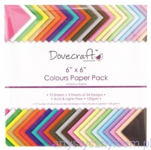 Dovecraft Paper Pack - Colours - 15,2 x 15,2 cm - 24 arkusze
