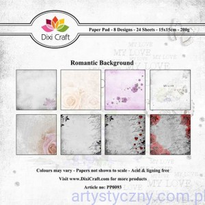 Papiery Dixi Craft - 15x15cm Romantic Background PP0093