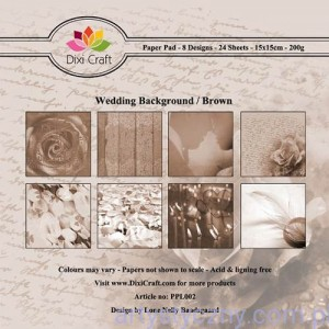 Papiery Dixi Craft - 15x15cm Wedding Background Brown PPL002