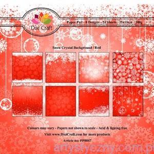 Papiery Dixi Craft - 15x15cm Snow Crystal Red PP0087